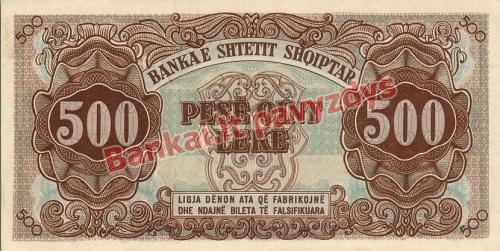500 Lekų banknoto galinė pusė