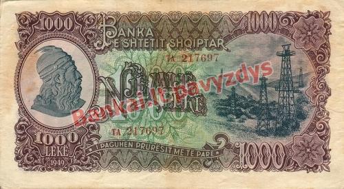 1000 Lekų banknoto priekinė pusė