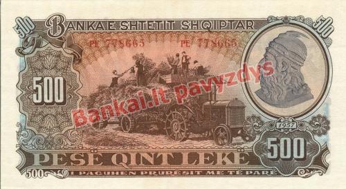 500 Lekų banknoto priekinė pusė