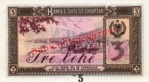 3 Lekų banknoto galinė pusė