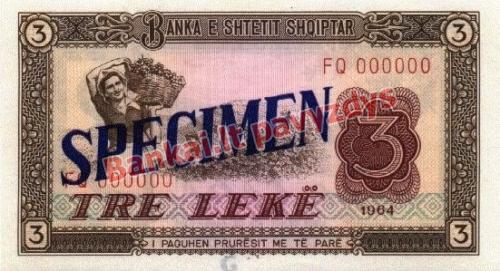 3 Lekų banknoto priekinė pusė
