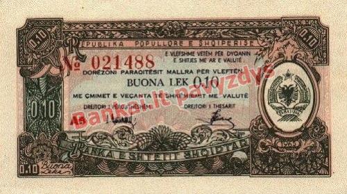 0.10 Lekų banknoto priekinė pusė