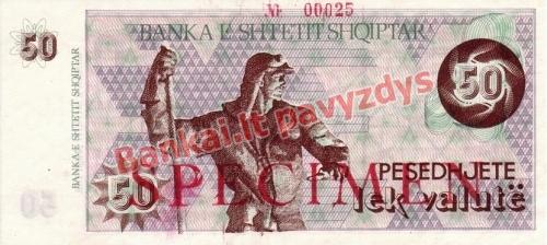 50 Lekų banknoto priekinė pusė