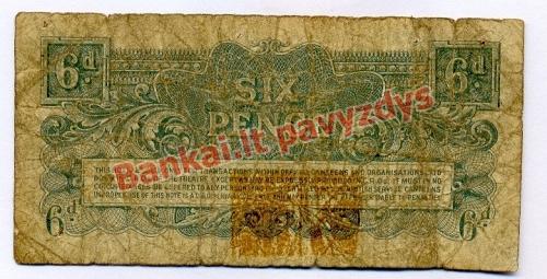 6 Pencų banknoto galinė pusė
