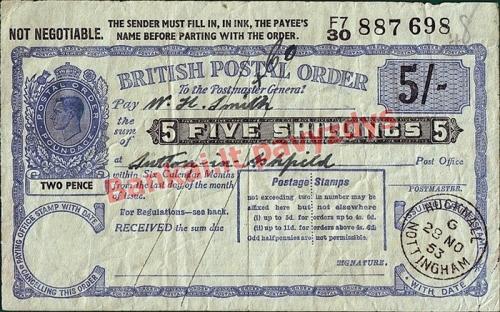 5 Šilingų banknoto priekinė pusė