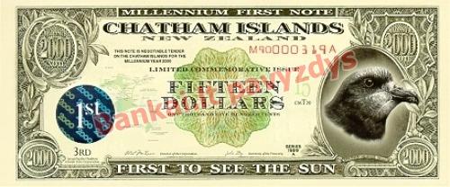 15 Dolerių banknoto priekinė pusė