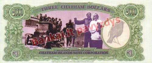 3 Dolerių banknoto galinė pusė