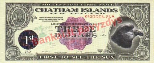 3 Dolerių banknoto priekinė pusė