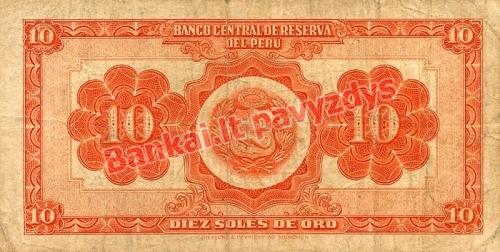 10 Soles  banknoto galinė pusė
