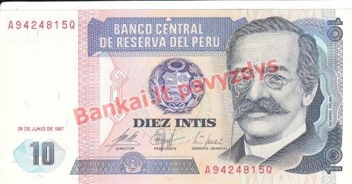 10 Intis  banknoto priekinė pusė