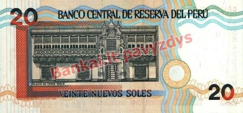 20 Nuevos  banknoto galinė pusė
