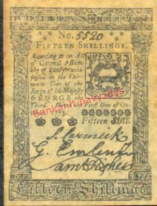 15 Šilingų banknoto priekinė pusė
