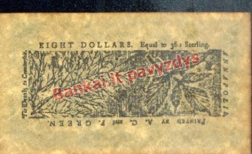 8 Dolerių banknoto galinė pusė