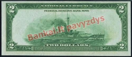 2 Dolerių banknoto galinė pusė