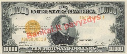 10000 Dolerių banknoto priekinė pusė