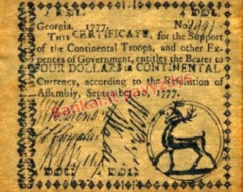 4 Dolerių banknoto priekinė pusė