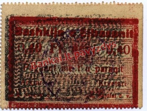 0.40 Frankų banknoto galinė pusė