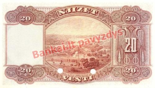 20 Franka  banknoto galinė pusė
