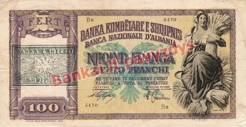 100 Franka  banknoto priekinė pusė