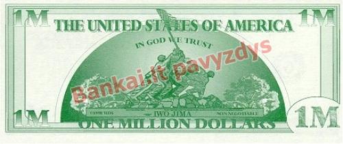 1000000 Dolerių banknoto galinė pusė