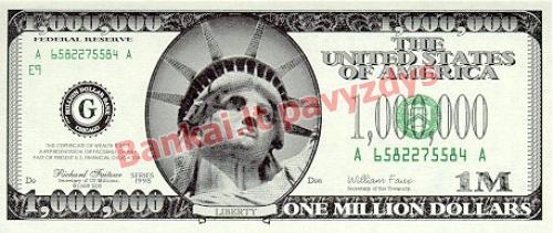 1000000 Dolerių banknoto priekinė pusė
