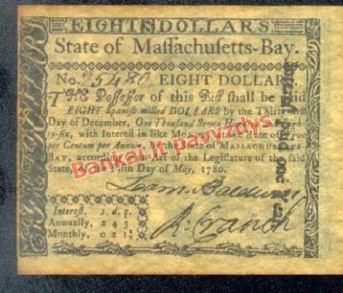 8 Dolerių banknoto priekinė pusė