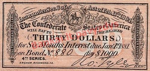30 Dolerių banknoto priekinė pusė