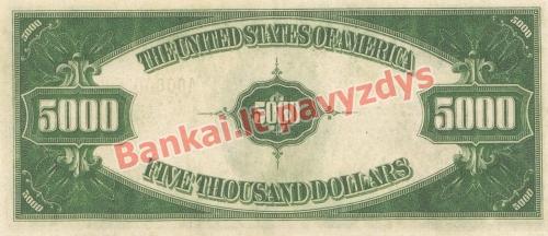5000 Dolerių banknoto galinė pusė