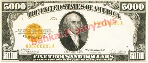 5000 Dolerių banknoto priekinė pusė