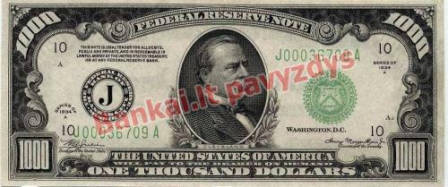 1000 Dolerių banknoto priekinė pusė