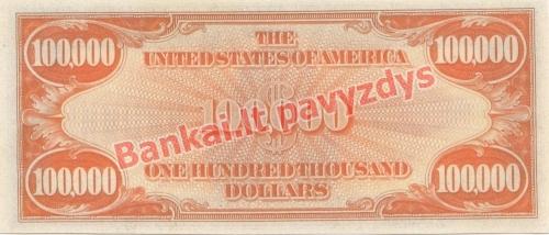 100000 Dolerių banknoto galinė pusė