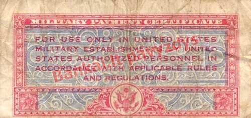 25 Centų banknoto galinė pusė