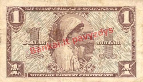 1 Dolerio banknoto galinė pusė