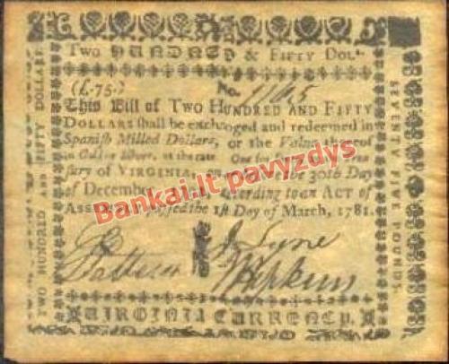 250 Dolerių banknoto priekinė pusė