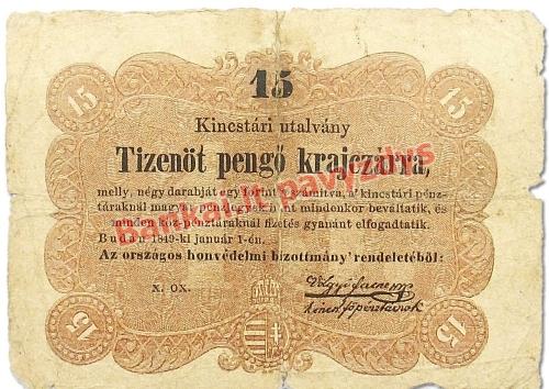 15 Pengo Krajczarų banknoto priekinė pusė