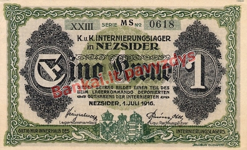 1 Koronos banknoto galinė pusė