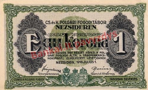 1 Koronos banknoto priekinė pusė