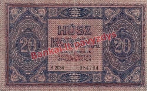 20 Koronų banknoto galinė pusė