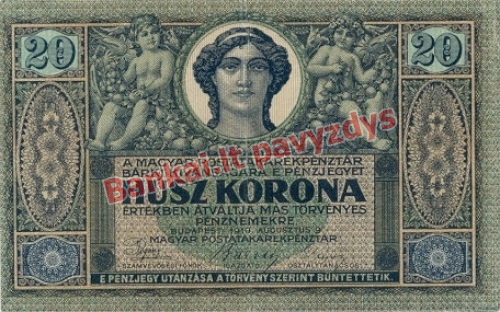20 Koronų banknoto priekinė pusė