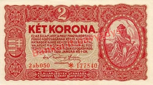 2 Koronų banknoto priekinė pusė