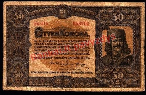 50 Koronų banknoto priekinė pusė