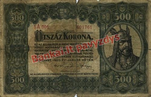 500 Koronų banknoto priekinė pusė