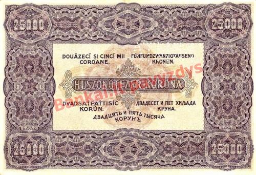 25000 Koronų banknoto galinė pusė