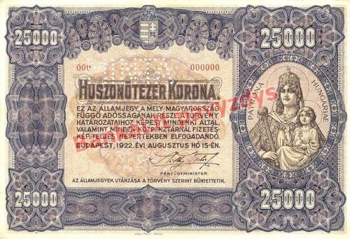 25000 Koronų banknoto priekinė pusė