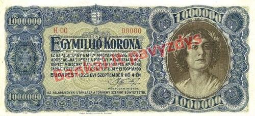 1000000 Koronų banknoto priekinė pusė