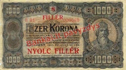 1000 Koronų banknoto priekinė pusė