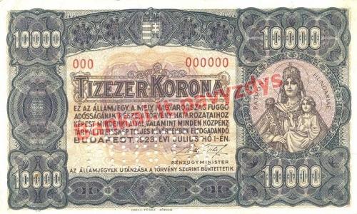 10000 Koronų banknoto priekinė pusė