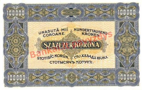 100000 Koronų banknoto galinė pusė