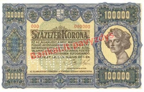 100000 Koronų banknoto priekinė pusė