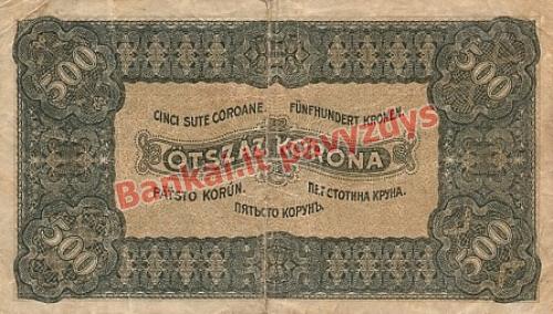 500 Koronų banknoto galinė pusė